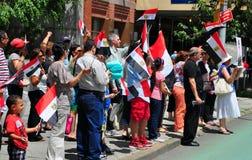 NYC: Egyptier som protesterar mitt emot Förenta Nationerna Arkivfoto