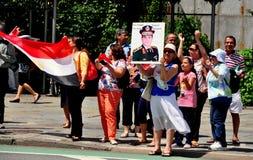NYC: Egyptiska demonstranter på Förenta Nationerna Arkivbilder