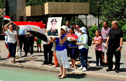 NYC; Egyptiska protesterare på Förenta Nationerna Fotografering för Bildbyråer