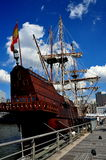 NYC: El Galeon Spanish Sailing Ship. El Galeon, replica of a 16th century Spanish sailing ship with three soaring masts and furled sails, docked on the Hudson royalty free stock images