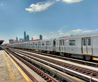 NYC Elevated Subway at 36 Avenue Platform in Queens, USA Royalty Free Stock Image