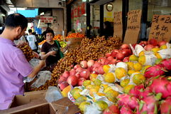 NYC: Exotic Fruits in Chinatown Royalty Free Stock Photos