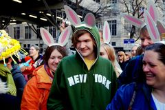 NYC: Family in Bunny Ears at Easter Parade Stock Image