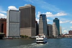 NYC: Ferry Boat in NY Harbour & Skyline Stock Photos