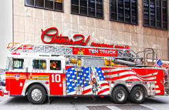 NYC firetruck FDNY. NYC firetruck.  Ten truck, FDNY outside of Century 21 department store.  February 2012 Royalty Free Stock Photos