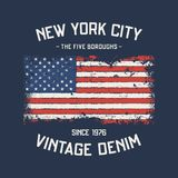 NYC the five boroughs t-shirt and apparel design with grunge eff Stock Photography