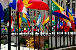 NYC: Flags at Rockefeller Center Stock Images