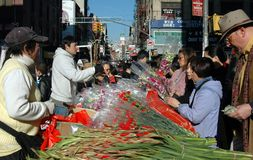 NYC: Flower Vendors in Chinatown Stock Photography