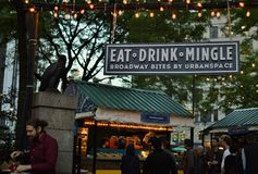 NYC Food Trucks Serving Customers Street Fair Trendy Eats Manhattan royalty free stock photography