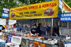 NYC: Food Vendor at Street Festival Stock Photos