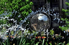 NYC: Fountains and Unisphere at Columbus Circle Royalty Free Stock Photo