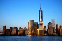 NYC Freedom Tower. Sunset in New York with the Freedom Tower Royalty Free Stock Photography