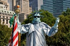 NYC: Freiheitsstatue Pantomimen Stockfotografie