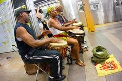 NYC-gångtunnelmusiker Fotografering för Bildbyråer