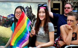 NYC: 2014 Gay Pride Parade Spectators Royalty Free Stock Image
