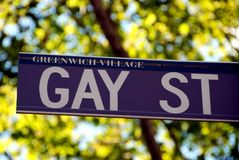NYC: Gay Street sign in Greenwich Village. The street sign at the corner of Gay Street and Christopher Street in the heart of NYC's Greenwich Village gay ghetto Royalty Free Stock Photos