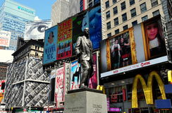 NYC: George M. Cohan Statue in Times Squaare. Statue of Broadway's legendary showman George M. Cohan stands in the heart of NYC's Times Square surrounded by Royalty Free Stock Photos