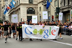 NYC: Google Marchers at Gay Pride Parade Stock Photos