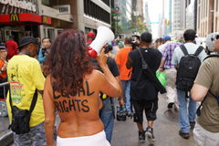 The 2015 NYC GoTopless Day Parade And Rally 12 Royalty Free Stock Photography