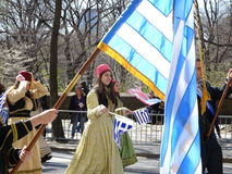The 2016 NYC Greek Independence Day Parade 33. The Federation of Hellenic Societies of Greater New York organizes the annual Greek Independence Day Parade in New royalty free stock images