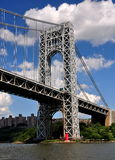 NYC: GW Bridge & Little Red Lighthouse Stock Photos