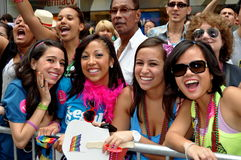 NYC: Happy Spectators at Gay Pride Parade Stock Photography