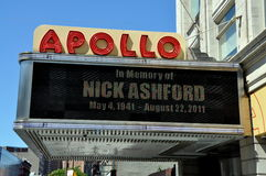 NYC:  Harlem's Famed Apollo Theatre. The marquee of the famed Apollo Theatre on West 125th Street in NYC's Harlem pays tribute to the late, great singer Nick Royalty Free Stock Image
