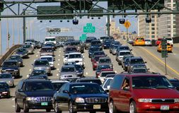NYC: Heavy Traffic on Miller Highway Royalty Free Stock Photos