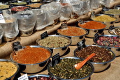NYC: Herbs and Spices. Vendor at the annual Amsterdam Avenue Street Festival in New York City displays a large selection of aromatic herbs and spices in Stock Image