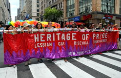 NYC: Heritage of Pride Banner at Gay Pride Parade Royalty Free Stock Photography