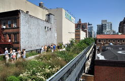 NYC:  The High Line Park. People strolling along NYC's remarkable and Royalty Free Stock Photo