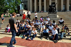 NYC: High School Students Visiting Columbia University Stock Photos