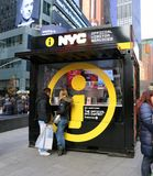 NYC Information Booth. In Times Square Provides information about the city to Tourists and visitors to NY Stock Images