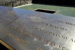 NYC: Inscribed Names at 9/11 Memorial stock photography