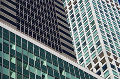 NYC intersecting high-rise buildings architectural background Stock Photo
