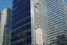 NYC intersecting high-rise buildings architectural reflections Stock Photo