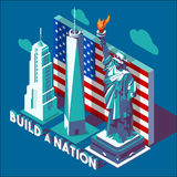 NYC-Isometrische Monumentenoriëntatiepunten Royalty-vrije Stock Foto