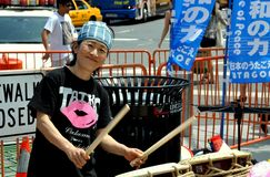 NYC: Japanese Drummer at Columbus Circle Protest Royalty Free Stock Image