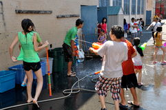 NYC: Kids at Burmese Water Festival Stock Photos