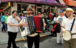 NYC: Klezmer Orchestra at Chinatown Festival. Accordionist, trombone and banjo musicians with the Michael Winograd Klezmer Orchestra International performing at Royalty Free Stock Photo