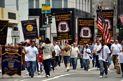 NYC:  Labour Day Parade Marchers. Marchers from the United Brotherhood of Carpenters & Joiners of America Union at the annual NYC Labour Day Parade on Fifth Royalty Free Stock Photos