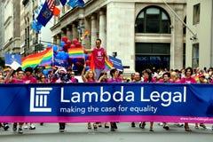 NYC: Lambda Legal Marchers at Gay Pride Parade Royalty Free Stock Photos