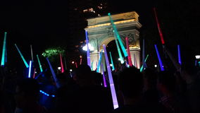 The 2014 NYC Lighsaber Battle 4. A lightsaber duel occurs when two or more combatants armed with lightsabers, or when one party using lightsabers against another Stock Image