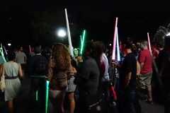 The 2014 NYC Lighsaber Battle 6. A lightsaber duel occurs when two or more combatants armed with lightsabers, or when one party using lightsabers against another Royalty Free Stock Photography