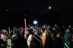 The 2014 NYC Lighsaber Battle 7. A lightsaber duel occurs when two or more combatants armed with lightsabers, or when one party using lightsabers against another Royalty Free Stock Images