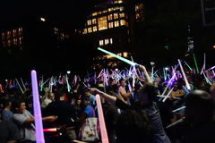 The 2014 NYC Lighsaber Battle 11. A lightsaber duel occurs when two or more combatants armed with lightsabers, or when one party using lightsabers against Royalty Free Stock Image