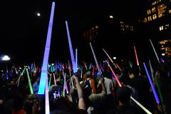 The 2014 NYC Lighsaber Battle 12. A lightsaber duel occurs when two or more combatants armed with lightsabers, or when one party using lightsabers against Stock Images