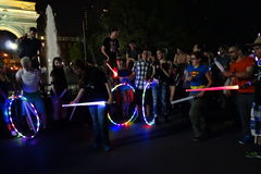 The 2014 NYC Lighsaber Battle 15. A lightsaber duel occurs when two or more combatants armed with lightsabers, or when one party using lightsabers against Stock Photos