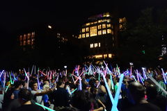 The 2014 NYC Lighsaber Battle 38. A lightsaber duel occurs when two or more combatants armed with lightsabers, or when one party using lightsabers against Royalty Free Stock Photos