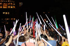 The 2014 NYC Lighsaber Battle 141. A lightsaber duel occurs when two or more combatants armed with lightsabers, or when one party using lightsabers against Stock Photography